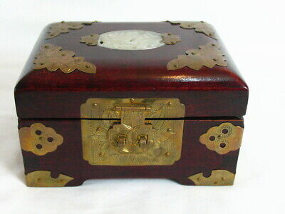 Chinese Wooden Treasure Chest Jewelry Box Brass Accents & and jade or Quartz Med