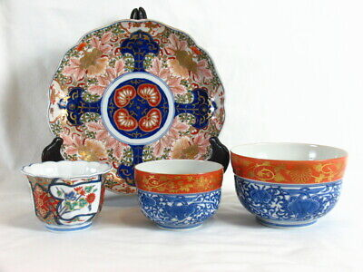 Antique Chinese or Japanese Porcelain Ware Plate & Bowls Hand Painted Marked