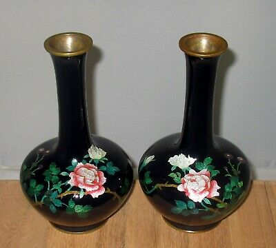 Meiji Period Japanese Partial Ginbari Cloisonne Enamel Pair Vases with Roses