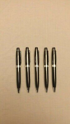 Lot of 5 Misprint Retractable Metal Ballpoint Pens with Clip