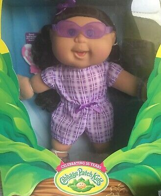 Cabbage Patch Kids Doll Brown Hair Blue Eyes Interacts With Lots Of Licks New