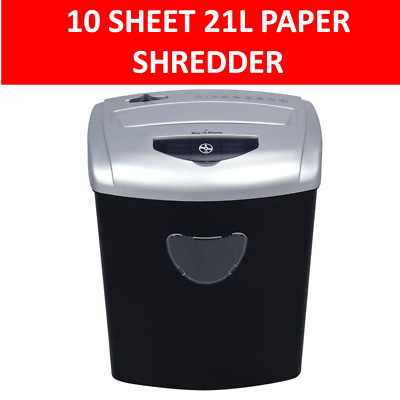 PENDO Paper Shredder 21L Cross Cut 10 Sheets CDs Credit Cards Home Office Combo