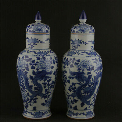 Chinese antique Qing Dy Blue and white Dragon pattern porcelain vase tank pair