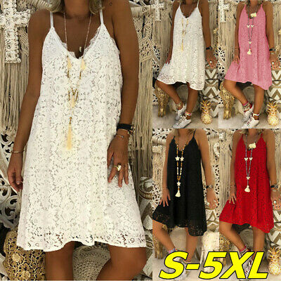 Womens Lace V Neck Strappy Dress Summer Beach Hollow Floral Loose Midi Sundress