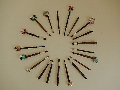 20 lacemaking bobbins, 10 with spangles