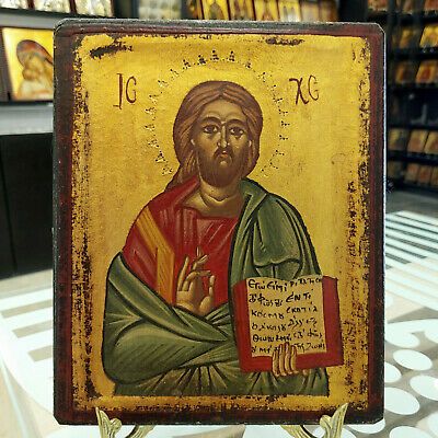 Orthodox Icon Handpainted Icon Jesus Christ Greek Byzantine Icon Religious Icon
