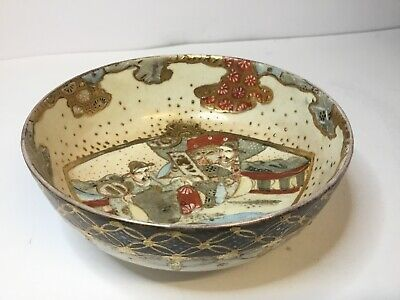 Antique Japanese Meiji Satsuma pottery Bowl, Hand Painted, Quality, Signed
