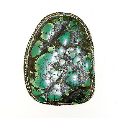 (2557) Antique Tibetan Turquoise Set in Silver and Copper.large size.