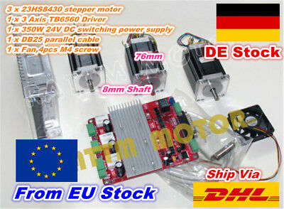 【in DE】 3 Axis Nema23 76mm Stepper Motor 270oz 3.0A+TB6560 Driver CNC Router Kit