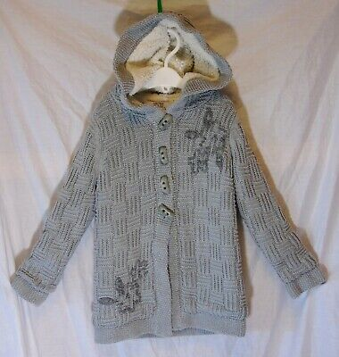 Girls Miss Mona Mouse Grey Sparkly Fleece Lined Knitted Jacket Coat Age 3-4 Year