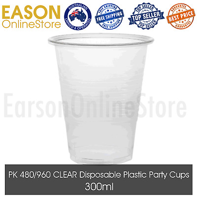 Clear Disposable Plastic Cups 300ml Drinking Cup Wedding Party Birthday BULK