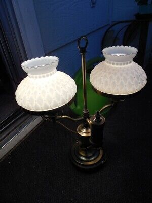 """Beautiful Vintage Student Lamp - Double Milk Glass Electric 17"""" x 15"""" +- working"""