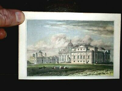 Fine Antique 19Th Century Hand Coloured Miniature Engraving Of Castle Howard