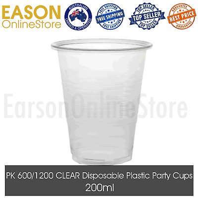 Clear Disposable Plastic Cups 200ml Drinking Cup Wedding Party Birthday BULK