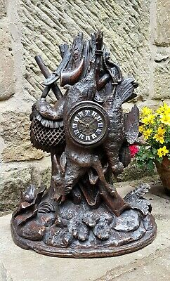 Hunting Themed 19Thc Carved Black Forest Striking Clock By Vincenti - Impressive