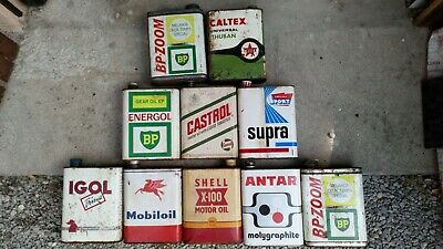 Lot Bidon huile ancien oil can shell bp castrol caltex igol