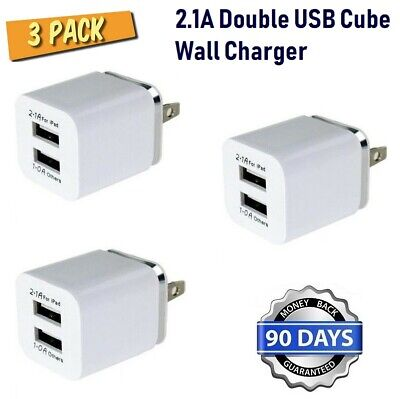 3pack (3x) 2.1A Double USB Cube Wall Charger for iPhone 6,6S,SE,5,7,8,X,XR [P3-1