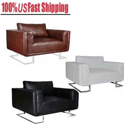 Quality Cube leather Armchair With Chrome Feet Soft Sofa Luxury Furniture Office