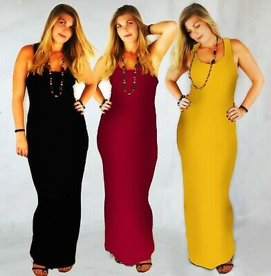 Sleeveless Racer Back Bodycon Stretch Maxi Dress Long Jersey Muscle Back 8 - 20