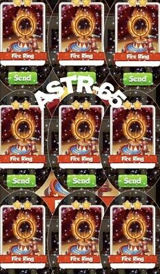 Coin Master Card Pack Of 10 Fire Ring Fast Delivery.         UK 🇬🇧 Seller