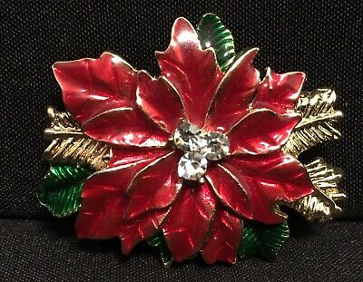 a2a542e5b5aa3 CHRISTMAS BROOCH POINSETTIA Pin Vintage Red Rhinestone Flower Shaped ...