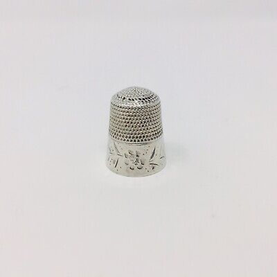 Vintage STERLING SILVER Size #12 Sewing Thimble - Flower Pattern - 41AD