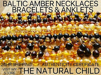 Child Bracelets & Necklaces - Baltic Amber - Your Choice Of Design - Free Post
