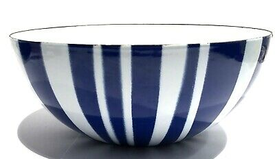 Cathrineholm Norway Mid Century Modern Enamel Bowl Blue And White Stripe