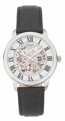 Rotary Men's Black Leather Skeleton Strap Watch.