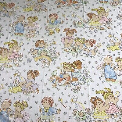 Cabbage Patch Kids Dolls Vintage 1983 Twin Flat Sheet Playing Flowers