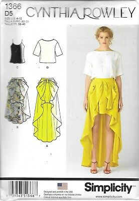 Ladies 4-12 sewing pattern UNCUT Simplicity 1366 Cynthia Rowley skirt tops FF