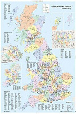 UK Wall Map Political Maxi Poster Of United Kingdom Educational Chart 61x91.5cm