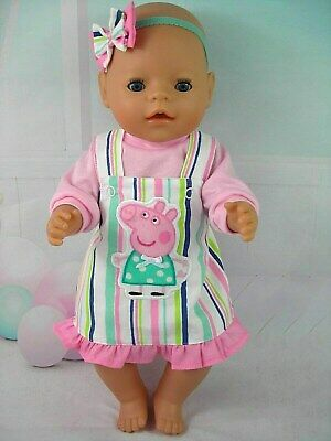 """Dolls clothes for 17"""" Baby Born~Cabbage Patch Doll~PEPPA PIG STRIPED PINAFORE"""