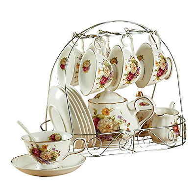 ufengke 15 Piece European Ceramic Tea Sets, Bone China Coffee Set with Metal and
