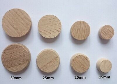 SOLID WOOD Oak Flat Cover Caps for 12 15 16 20 25 30 35mm HOLE Plug Wooden Low
