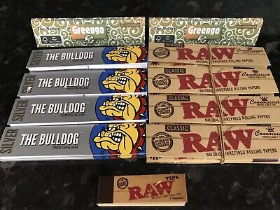 Raw Connoisseur/Bulldog & Tips Kingsize Rolling Papers Mixed Authentic