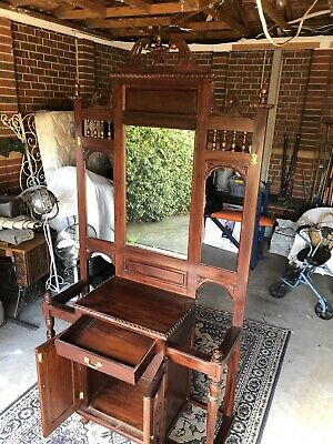 Hall Stand, antique reproduction With Mirror Draw And Two Door Cupboard.