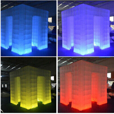 Inflatable Cube Photo Booth Tent Portable LED Lights One Door Photobooth 2.25M