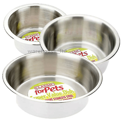 Stainless Steel Dish For Dogs Cats Feeding Bowls Small Med Large XL Dog Bowls