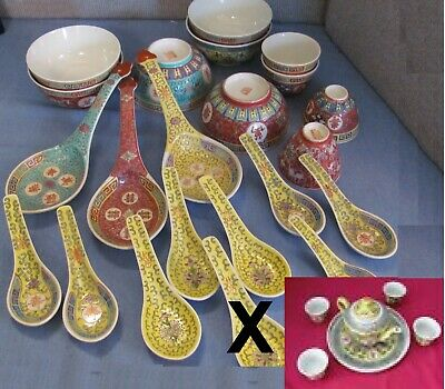 27 Lot Vintage Asian Rice/Soup Bowls, Spoons, Serving Size Spoons wSaki Tea Set