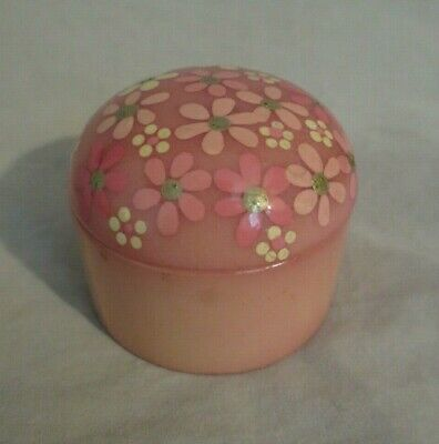 Vintage Pink Milk Glass Hand Painted Dome Lid Trinket Box