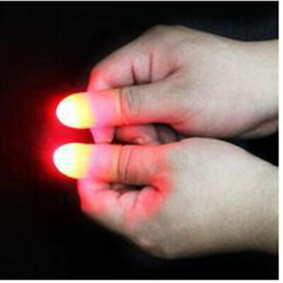 2Pcs party Magic Light Up Glow Thumbs Fingers Trick Appearing Close Light Up Hot