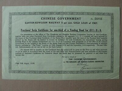 China Chinese Government Canton Kowloon Railway Gold Loan Of 1907 Bond