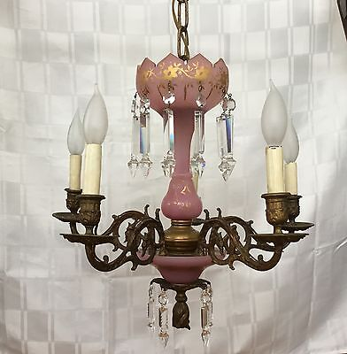 Antique French Victorian Bronze Lustre Lamp Chandelier Pink Opaline Crystal