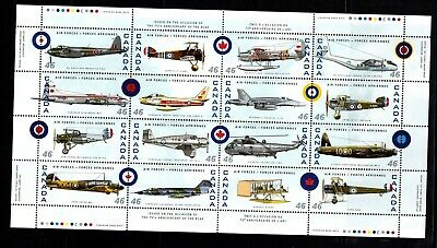 CANADA NO 1808a to 1808p FOLDED SHEET,  CANADIAN AIR FORCES AIR  PLANES, MINT NH