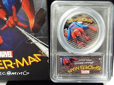 2017 $5 Cook Islands SPIDERMAN Homecoming  PCGS PR69 DCAM 1oz .999 Silver Coin