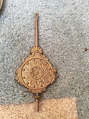 "Antique Brass Gingerbread Clock Pendulum Very Good 6.25"" Long"