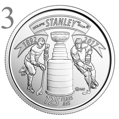 CANADA 2017 New 3x25 cents 125th Anniversary of the STANLEY CUP (UNC From roll)