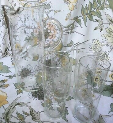 For  Long, Cool Summer Drinks - Long, Vintage Glass Jug And 4 Matching Glasses