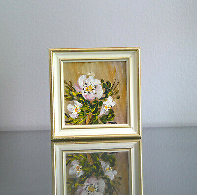 Scandinavian Pinkish White Flowers Framed Finnish Original Oil Painting Signed